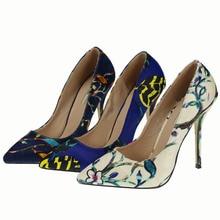 Популярное новое поступление 2016 модные туфли на шпильке с цветочным рисунком и зауженным острым носком женские туфли-лодочки брендовые очаровательные женские туфли на высоком каблуке 36–41