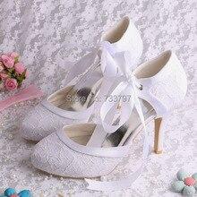 Белые Кружевные Туфли Каблуки Свадебное Платье Закрытым Носком Ленты Насосы для Торжеств и Вечеринок