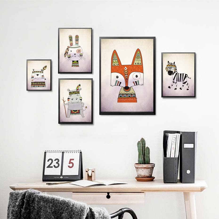 Cartoon Animal Fox Rabbit Zebra Canvas Painting Feather Animals Art Print Poster Wall Picture For Kids Room Home Decor No Frame