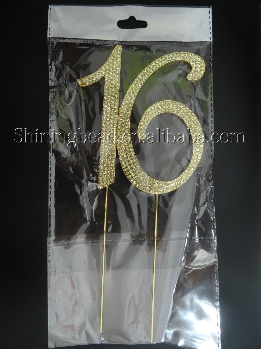 Ücretsiz nakliye, altın sayı 16 rhinestone kek topper, doğum - Tatiller ve Partiler Için - Fotoğraf 5