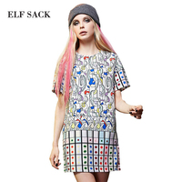 Elf SACK Spring Female Loose H Vintage Royal Short Sleeve Print One Piece Dress Short Skirt