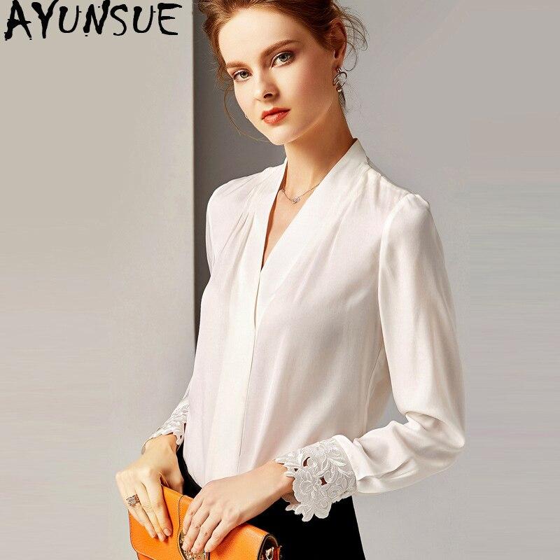 Chemise femme printemps automne soie Blouse 2019 blanc chemises femmes hauts et chemisiers bureau Vintage Blouse Camisas Mujer MY2354