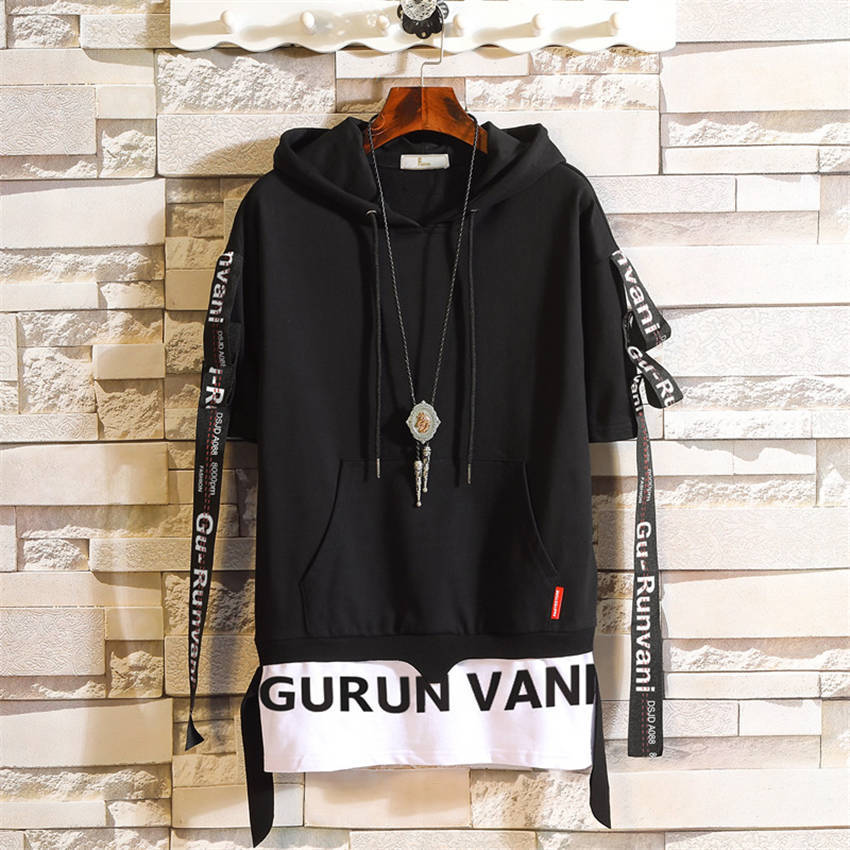 2019 Summer New Streamer Decoration Loose Sweatshirt Men Fashion Casual Trend Brand Letter Print Hem Short Sleeve Hoodies Mens 3