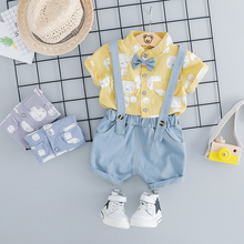 2019 Summer Baby Boys Clothing Sets Toddler Infant Clothes Suits Gentleman Style Shirt Bib Pants Kids Children Casual short Suit casual summer gentleman style kids boys clothing sets cotton sling strap costume shirt short jeans boys clothes suits