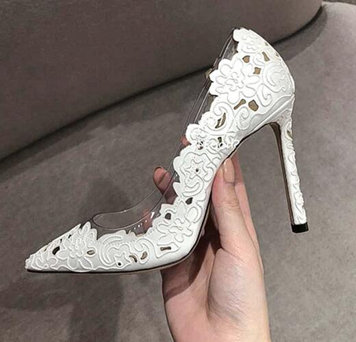 Carpaton/женские туфли на высоком каблуке; Туфли на тонком каблуке с острым носком и кружевом в стиле пэчворк; белые свадебные женские туфли на шпильке - 2