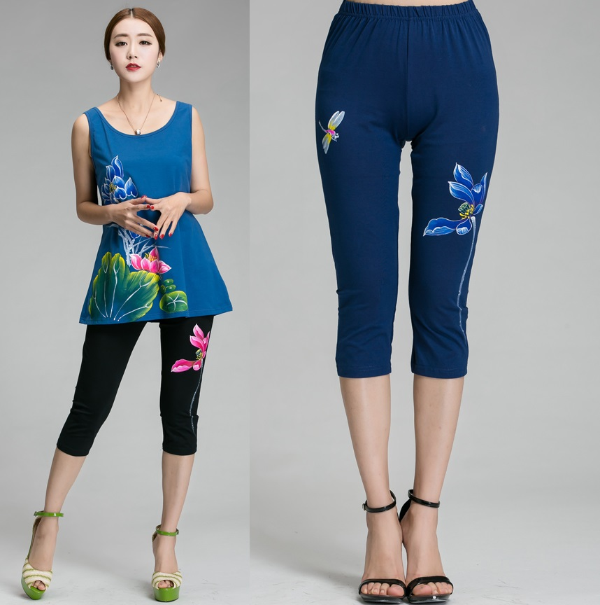 2016Women Plus size China style lotus hand painted   pants   national wind high Waist Casual Cropped   Capri     pants   legging trousers4XL