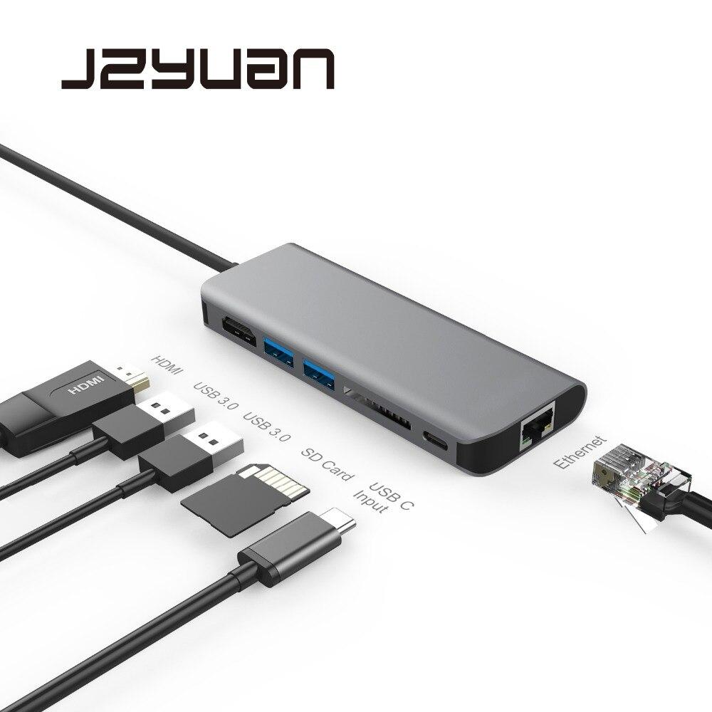 Station d'accueil pour ordinateur portable JZYuan pour Macbook USB C Etehernet LAN HDMI USB 3.0 Type C Station d'accueil pour Samsung S9 S8 Huawei P20