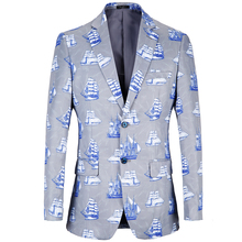 Elegant Easter Blazer Men 2018 sea Printed design Jacket loose size Masculino Plus Size US 38R-48R Casual coat
