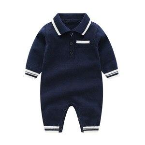 Image 2 - תינוק לסרוג בנים Rompers ארוך שרוול סרוג יילוד תינוק בגדים חם ילד של סתיו בגדי סריגה Rompers 0 24m חמוד סרבל