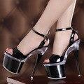2016 Del Partido del Otoño de Cristal Tacones Altos Señoras Desfile de Moda Discotecas Bombas 18 cm Plataforma zapato con Cierre de Carnaval