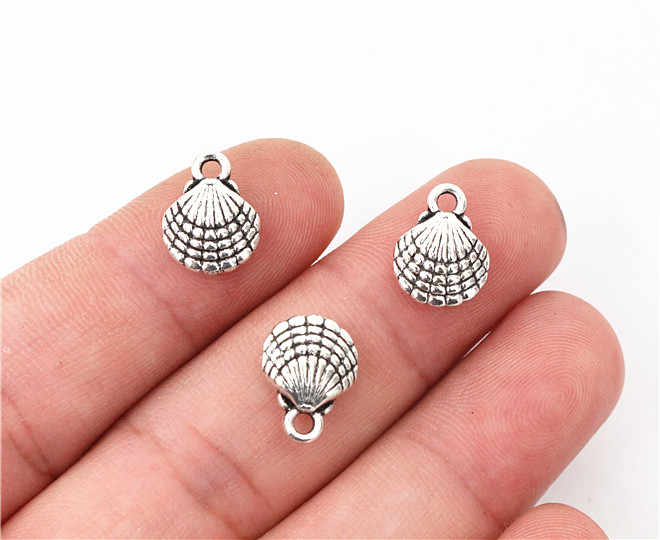 10pcs Encantos dupla face shell 13x10 milímetros Antigo Fazendo pendant fit, Tibetano de Bronze de Prata Do Vintage, DIY pulseira colar