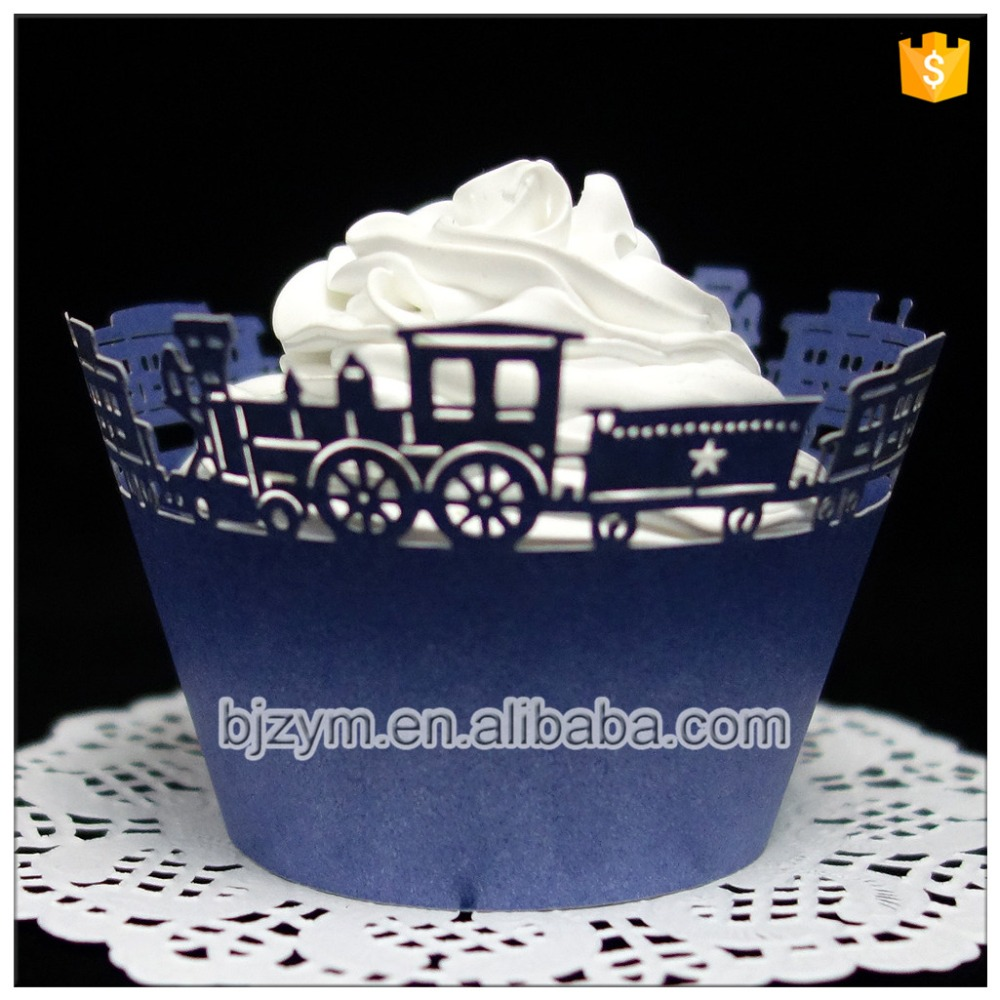 Free Shipping Lace Paper Navy Blue Train Design Cupcake Wrapper Kitchen Accessories 12 Pcs For Baby