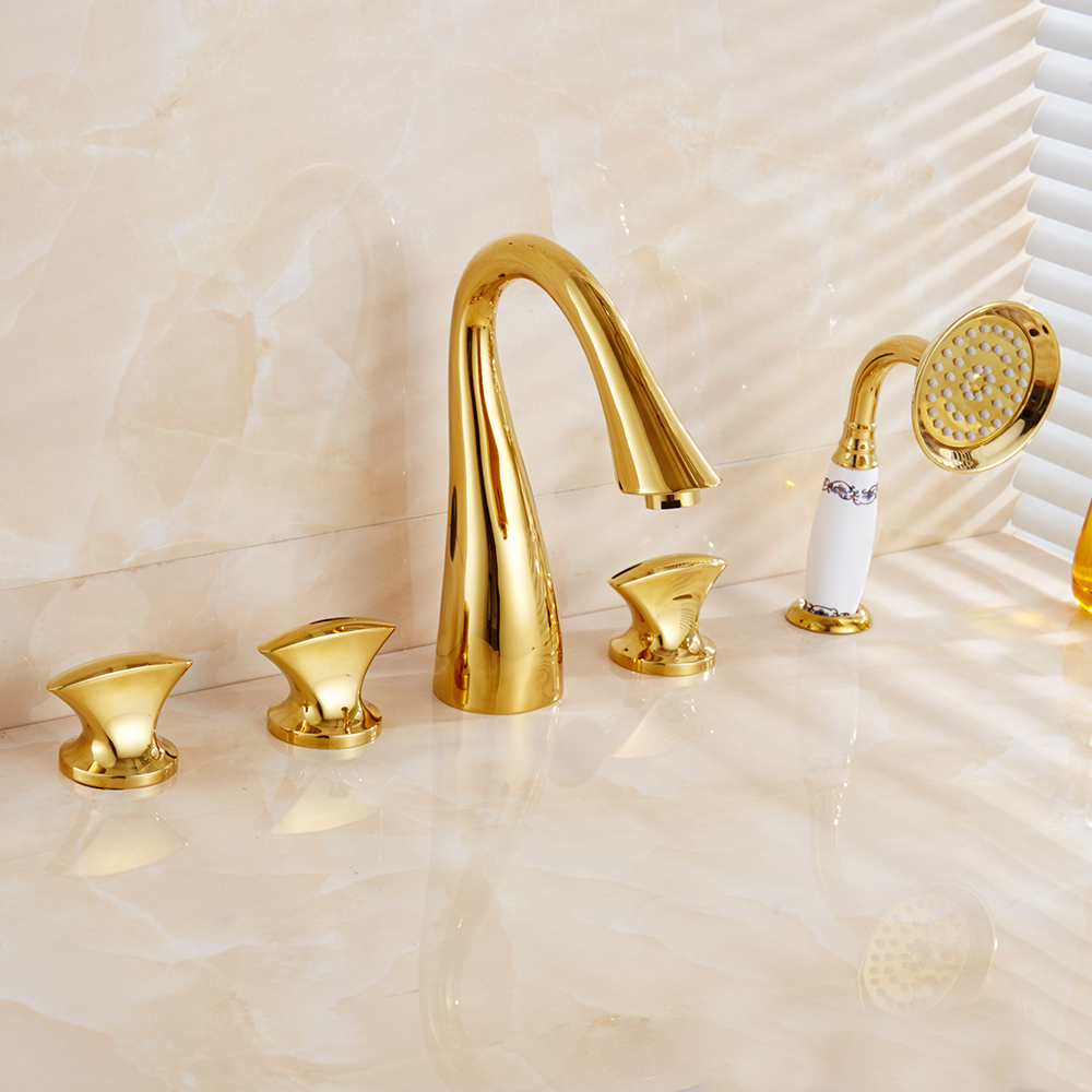 Banheira Torneiras Latão Acabamento Dourado Luxo 5 Facucet Bacia Buraco Torneira Do Banheiro Conjunto Chuvas Chuveiro Chuveiro de Mão Misturador Quente e Frio torneiras