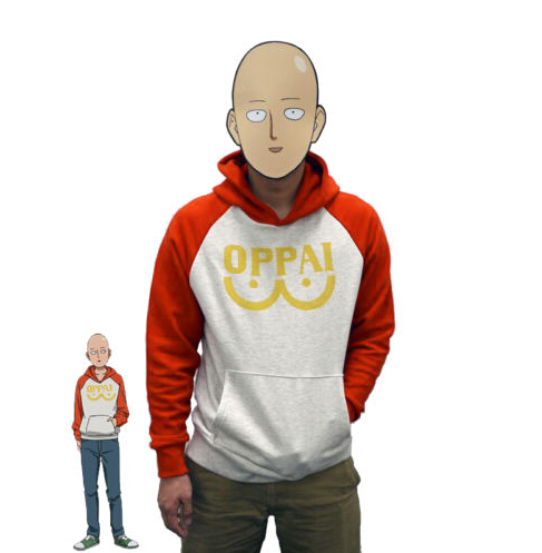 One Punch Man Hero Saitama Oppai Hoodie Cosplay Costume Hooded Jacket Sweatshirts Size S-2XL
