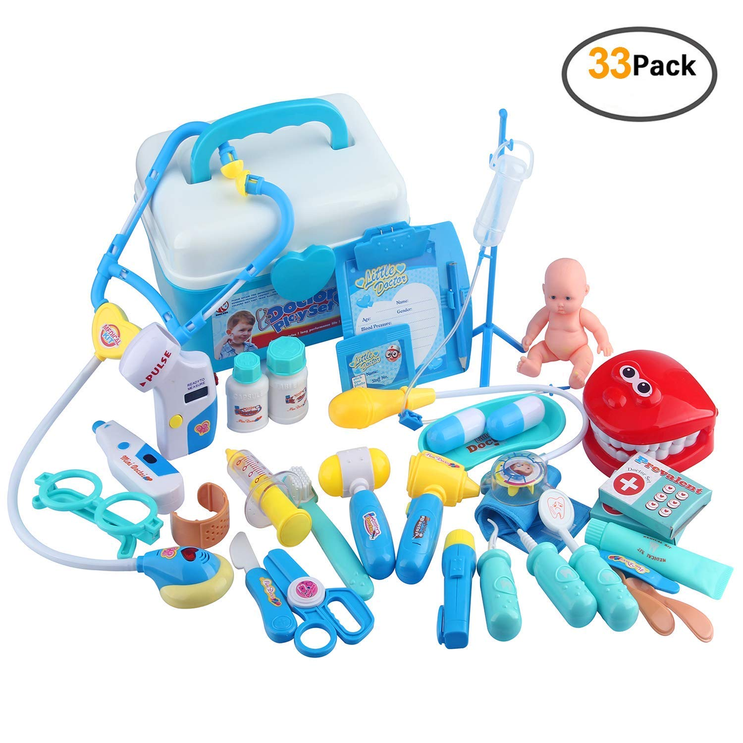 Doctor Kits for Kids with Stethoscope and Coat Medical Kit for Tolddlers, Pretend Doctor Playset 33 Pack for Kids Basic Skills