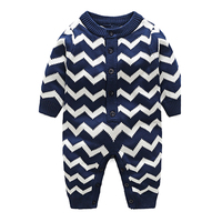 Fashion Newborn Baby Girl Boy Clothes Knitted Jumpsuits Geometric Long Sleeve Romper Warm Outfits Kids Infant Clothes Size 0 18M
