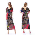 2017 Women Summer Beach Dress Plus Size 5XL 6XL V Neck Batwing Sleeve Long Maxi Dress Sundress Retro Boho Vestidos