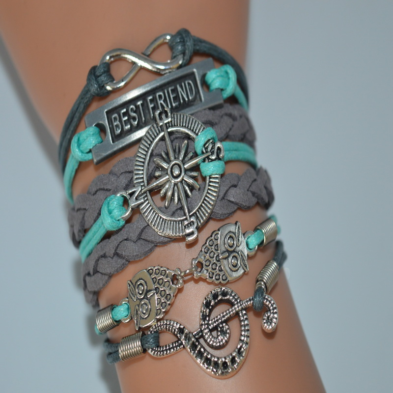 19 Variety Style Hot Fashion Men Owl Compass Musical Best Friend Infinity Charm Bracelet Multilayer Leather Rope Woven Jewelry