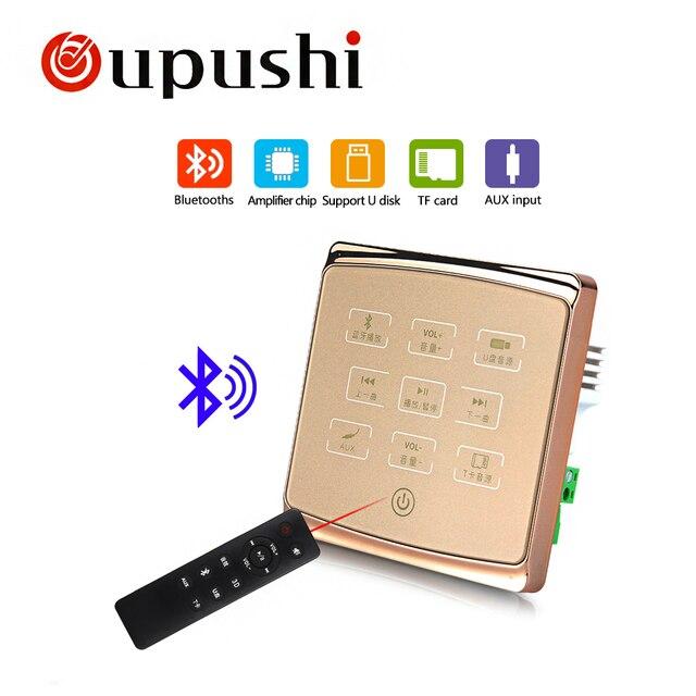Oupushi A1 de control de luz de casa inteligente sistema de música pared Pad Bluetooth MIni USB amplificador con TF Crd... control remoto