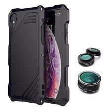 Cho iphone x xr xs kim loại tối đa trường hợp đối với iphone XS MAX XR trường hợp bảo vệ Apple bọc thép Armor Ngoài Trời Chống Sốc điện thoại máy ảnh ống kính