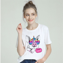 BTFCL Rainbow Unicorn T Shirt Women New Short Sleeve Cute Pig Summer Tops Casual Tee Homme Harajuku 90s Femme Tshirt
