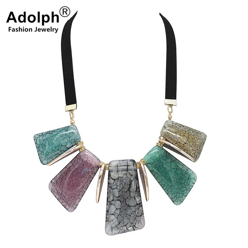 ADOLPH Fashion Leather Rhinestone Geometry Pendant Choker Necklace 2018 New Handwork Boho Statement Neckalces Woman HOT