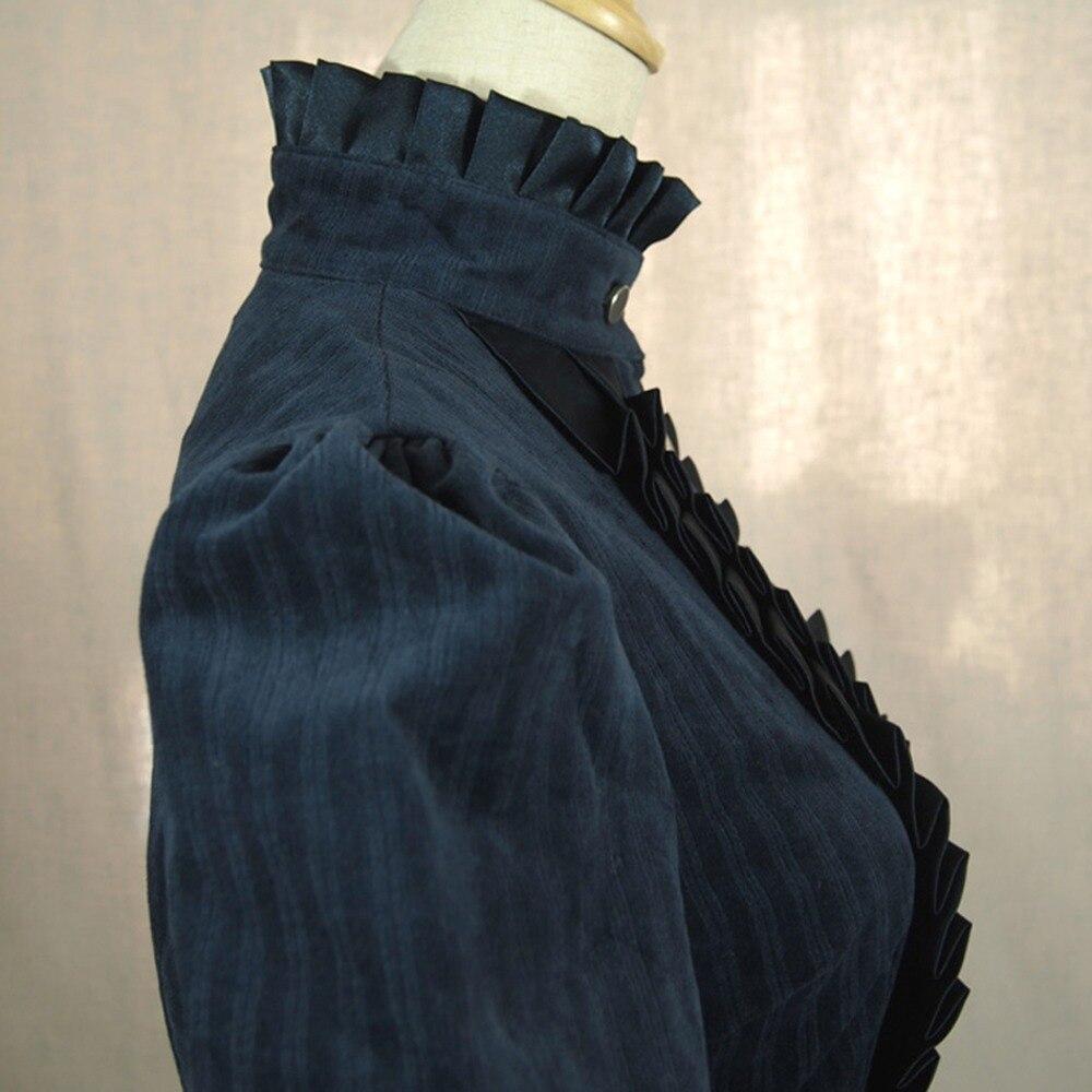 Vestido de oficina de Primavera Otoño de mujer británica vintage lolita disfraz de pana vestido Casual plisado largo rompevientos - 5