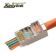 xintylink ez rj45 connector ethernet cable plug cat6 cat5e cat5 network 8P8C shielded modular terminals have hole 50pcs 100pcs