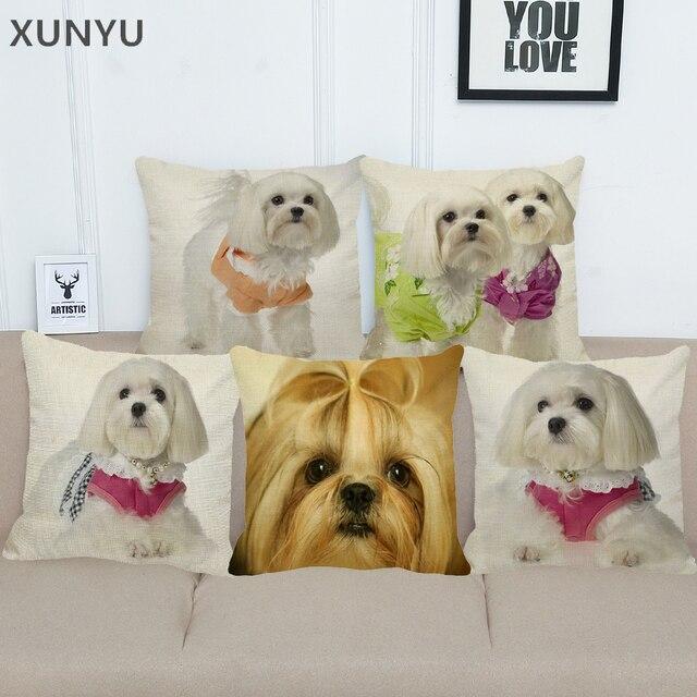 XUNYU Carino Shih Tzu Modello Lino Pillow Case Cuscino Casa Divano Decortive Pia