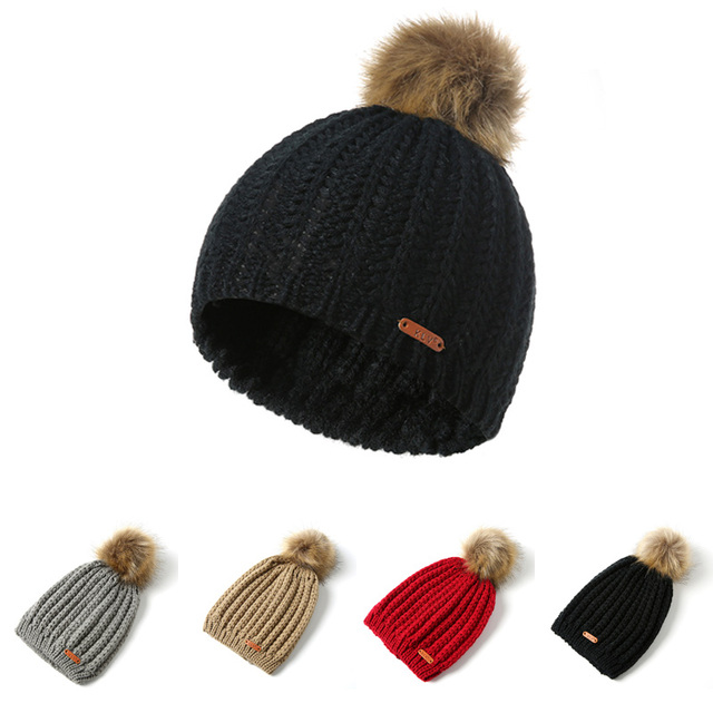 f7b677e0522 FORERUN Fashion Pom Pom Beanies Winter Cap for Women Ribbed Knit Hat  Vertical Striped Big Pompom Faux Fur Knitted Skullies Cap