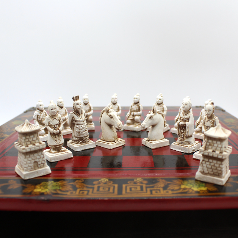 High-end Collectibles Vintage Chinese Terracotta Warriors Chess Set Best gift for Leaders Friends Family 26.5*26.5cm*6cm 3
