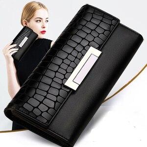 Image 1 - Moda kadın cüzdan hakiki deri yüksek kalite uzun tasarım debriyaj dana cüzdan moda kadın çanta Portefeuille Femme 168
