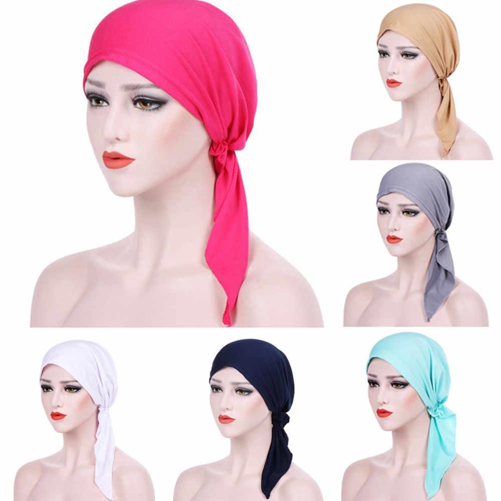 Turbante para mujer, diadema India, sombrero musulmán, con volantes para el cáncer, sombrero para el pelo, gorro para la cabeza, ropa para la cabeza, Fitness, entrenamiento CapPJ0831