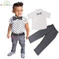 Crianças Terno Formal Conjunto de Roupas de Bebê Crianças Roupas de Marca Menino roupas de Festa Belo Cavalheiro Bow Tie Dot Shirt + Pant L216