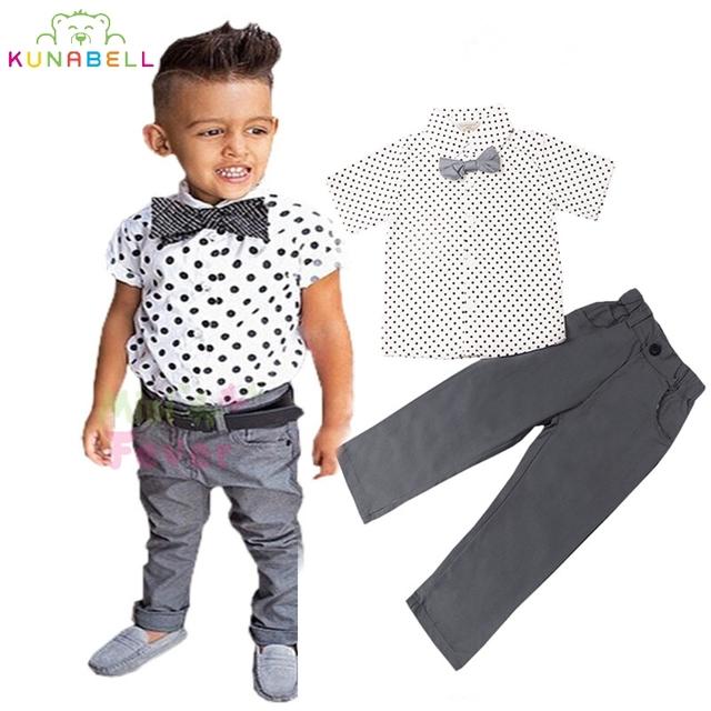 Niños Traje Formal Ropa Set Bebé Embroma la Ropa de Marca Boy Partido ropa Apuesto Caballero Pajarita Dot Shirt + Pant L216