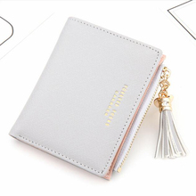 2019 ladies short wallet Korean fashion vertical cross pattern tassel zipper purse PU leather cartoon cute