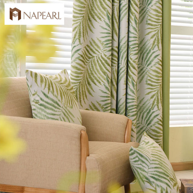 NAPEARL Country Style Curtains Thick Drapes Green Blue Patterned Magnificent Blue Patterned Curtains