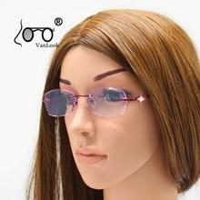 Стразы, очки для чтения для женщин, фиолетовые линзы, Gafas de Lectura, роскошные очки без оправы+ 100+ 150+ 200+ 250+ 300+ 350+ 400