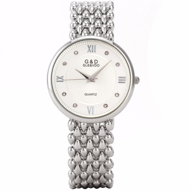 G&D Top Brand Luxury Silver Womens Wristwatches Fashion Quartz Watches Ladies Br