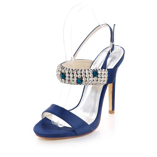 773d90f719c6aa Creativesugar lady crystal diamonds evening satin dress sandals high heels  bridal wedding party shoes navy blue champagne ivory