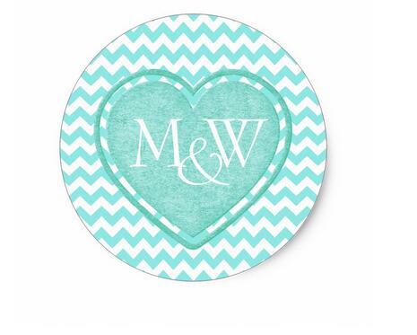 1.5inch Aquamarine Monogram Wedding Classic Round Sticker