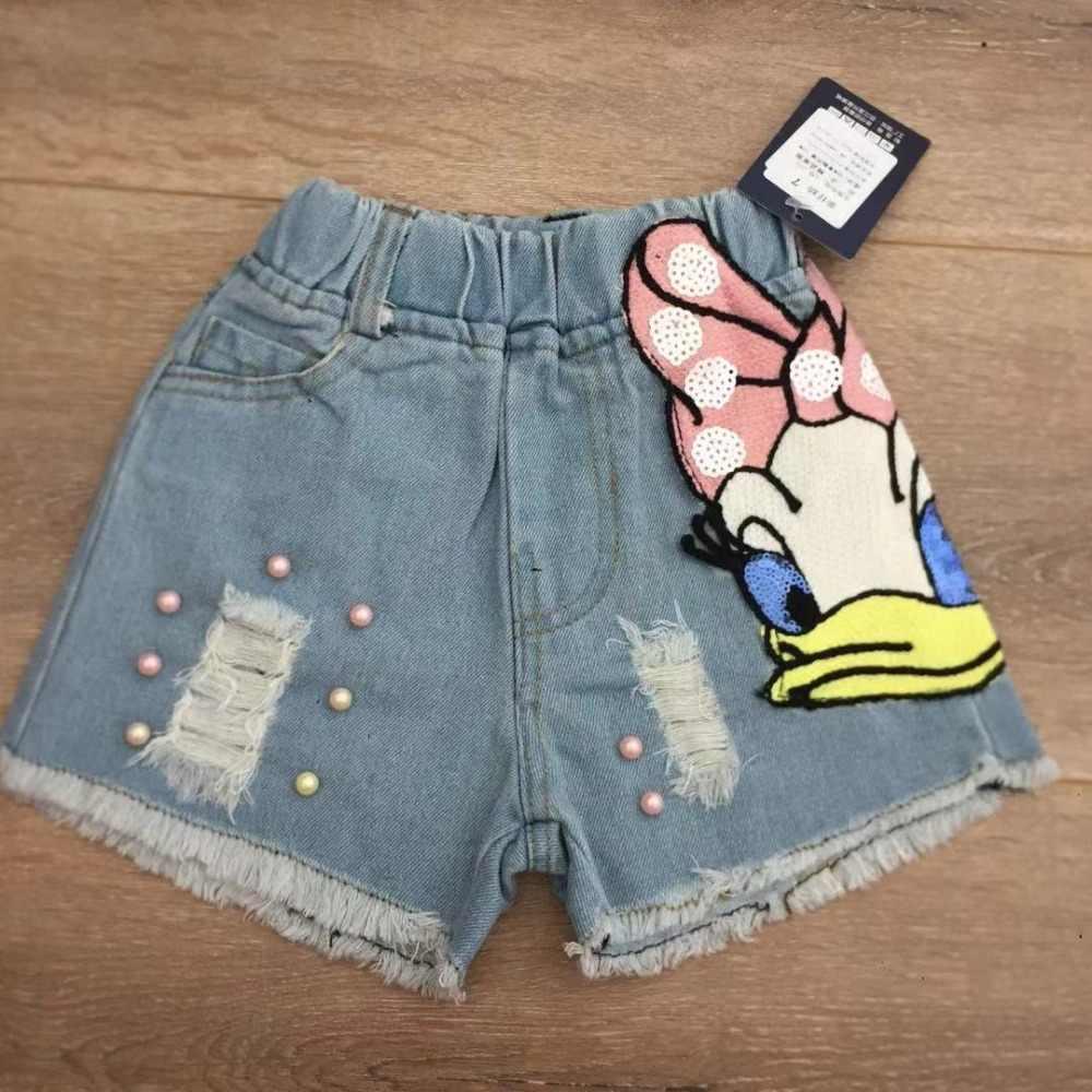 b4c52d32db2 ... Girls CUTE Shorts Demin Cartoon Daisy Duck Pattern Baby Ripped Jeans  Short Pants Summer Pearls Kids ...