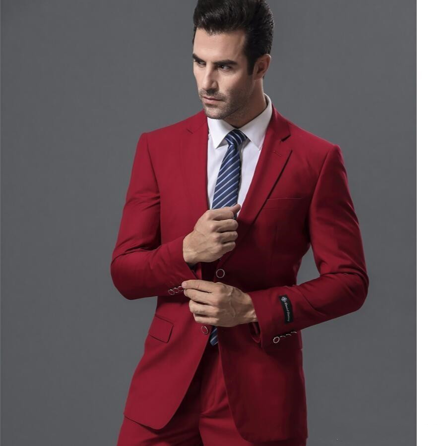 Classic Design Red Men Wedding Dress Excellent Groom Tuxedos Popular Jacket Blazer Men Business Suit (Jacket+Pants+vest) Terno
