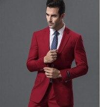 Classic Design Red Men Wedding Dress Excellent Groom Tuxedos Popular Jacket Blazer Business Suit (Jacket+Pants+vest) terno