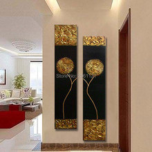 CV Hand Painted Modern Abstract Gold black Oil Painting Large vertical Textured