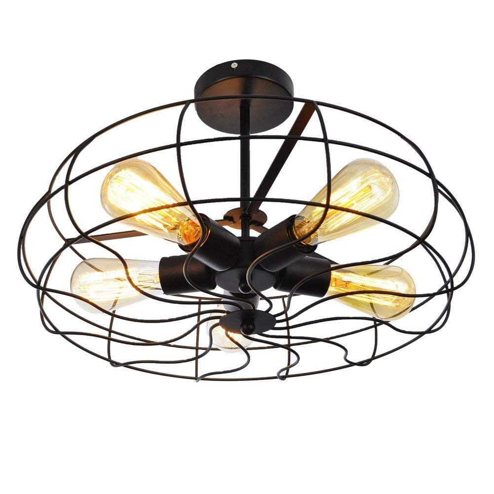 Retro Industrial Fan Iron Chandelier Semi-embedded Ceiling Chandelier Retro 5 Head Light Fixture Black Chandelier Modern