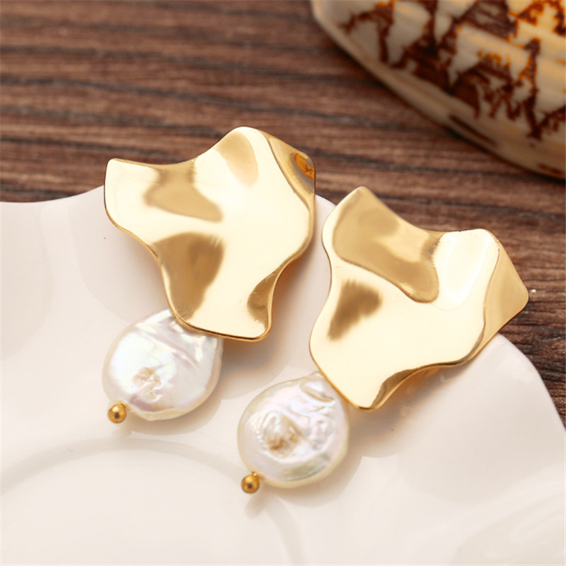 WWLB Baroque Simple Gold Matte Metal Human Head Face Body Lrregular Leaf Natural Freshwater Pearl Earrings For Women Girl in Drop Earrings from Jewelry Accessories