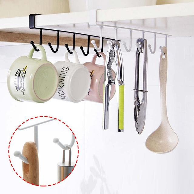 1 PCS Cabinet Bottom Rack Cup Shelf Kitchen Iron 6 Coat