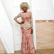 Nigeria Sexy Spitze Meerjungfrau Abendkleider Lang Hohl Ärmeln Bodenlangen Abendkleider Oansatz Rüschen Formal Dress Party E026