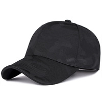 Spring and Summer Camouflage Baseball Cap with Breathable eyelet Pre curved visor Adjustable Dad Hat for Men Women Sport Black